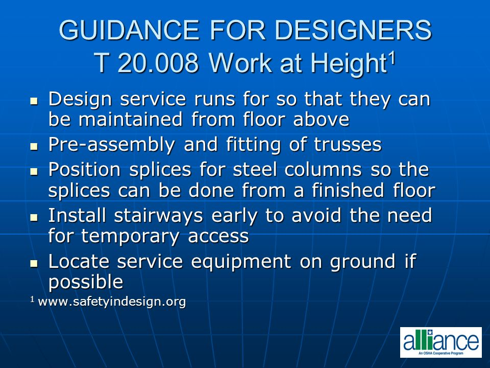 GUIDANCE FOR DESIGNERS T 20.008 Work at Height1