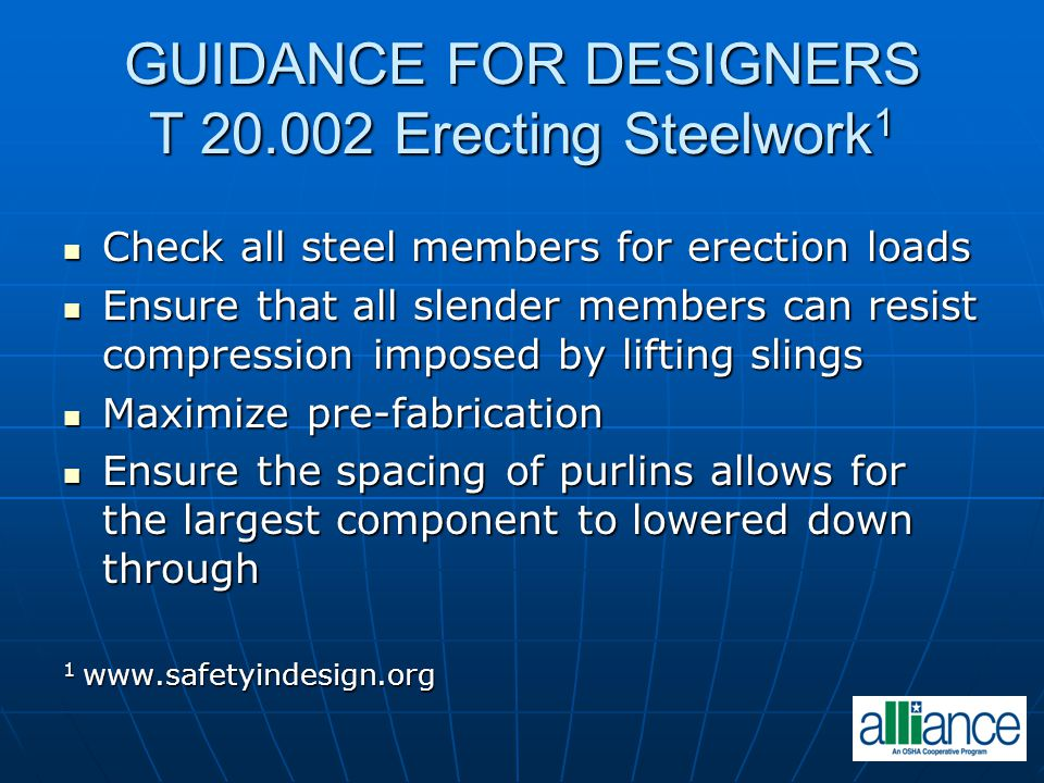 GUIDANCE FOR DESIGNERS T 20.002 Erecting Steelwork1