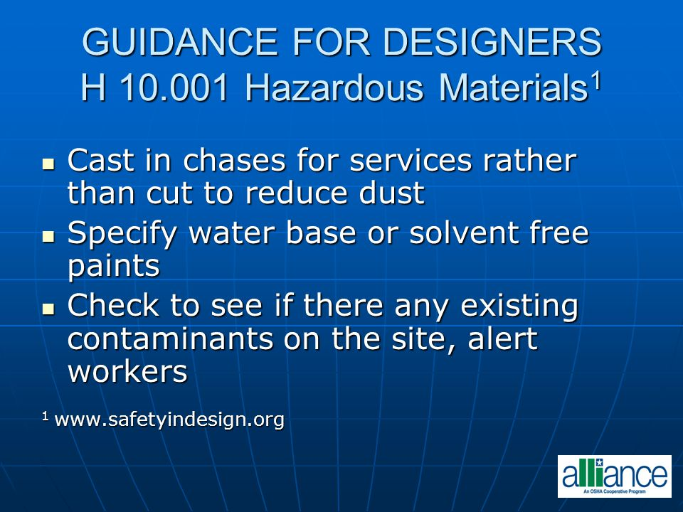 GUIDANCE FOR DESIGNERS H 10.001 Hazardous Materials1