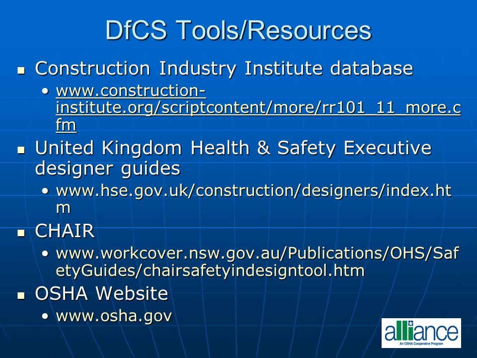 DfCS Tools/Resources Construction Industry Institute database