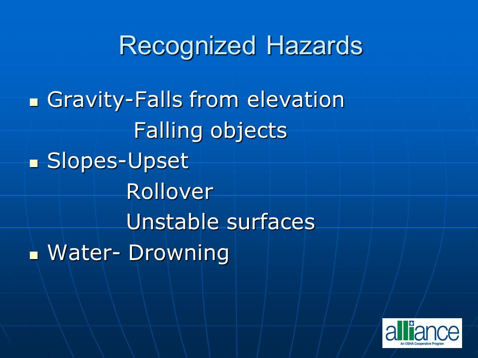 Recognized Hazards Gravity-Falls from elevation Falling objects
