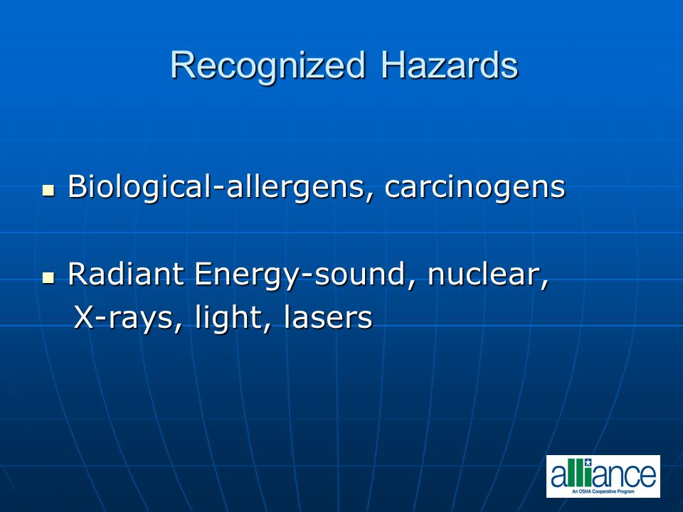 Recognized Hazards Biological-allergens, carcinogens