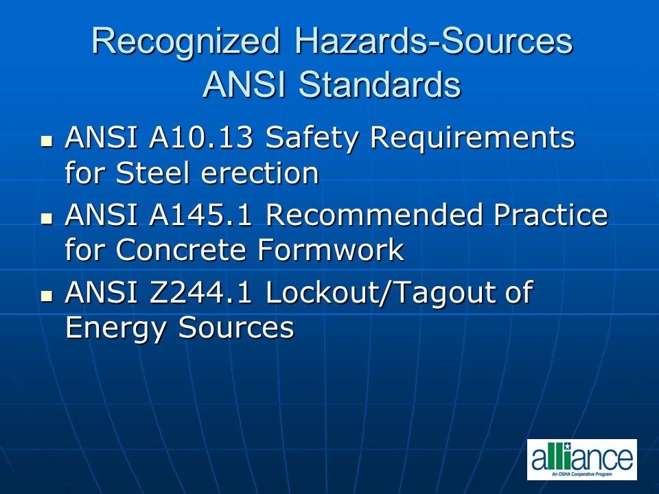 Recognized Hazards-Sources ANSI Standards