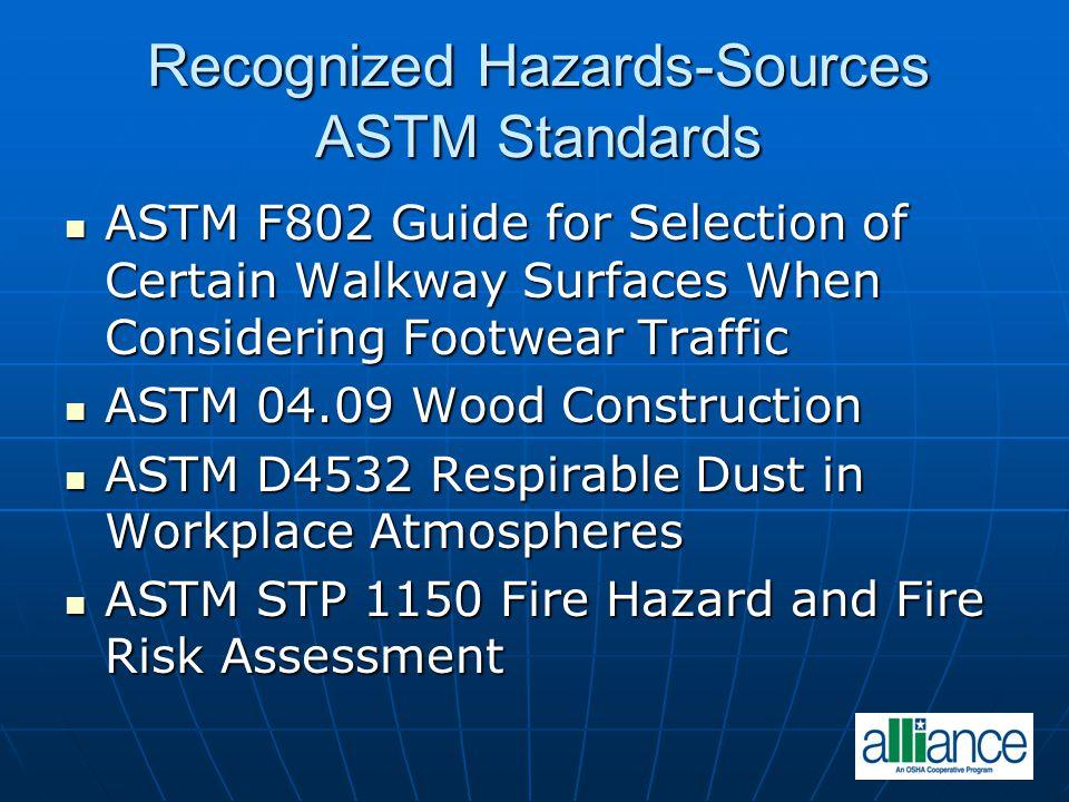Recognized Hazards-Sources ASTM Standards