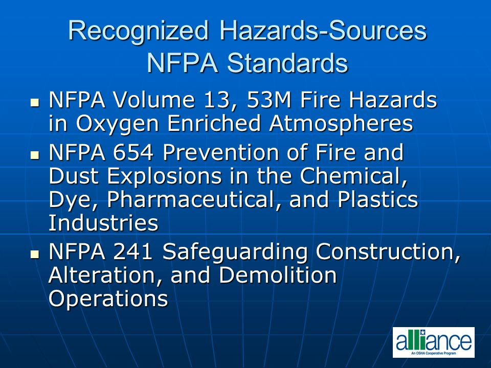 Recognized Hazards-Sources NFPA Standards