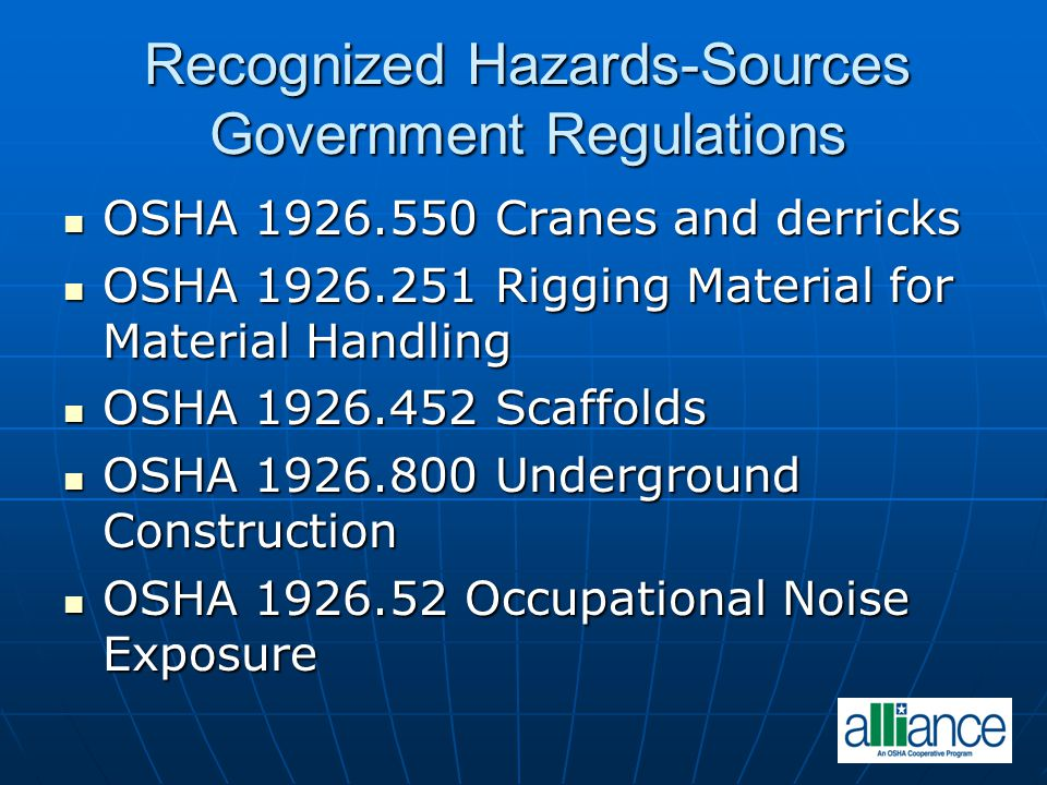 Recognized Hazards-Sources Government Regulations