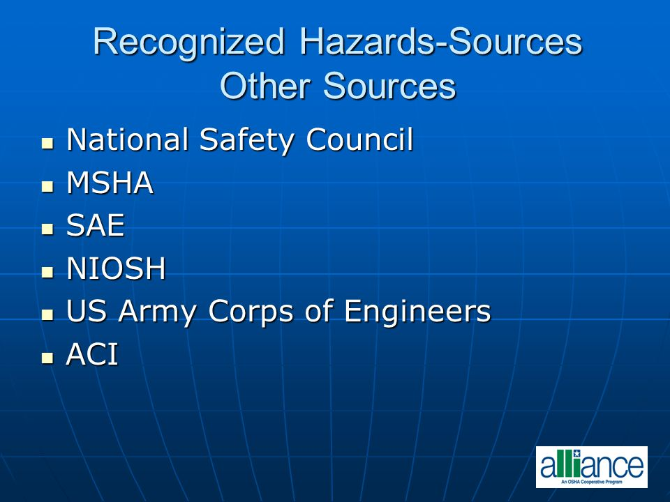 Recognized Hazards-Sources Other Sources