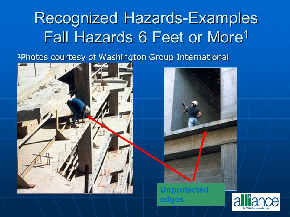 Recognized Hazards-Examples Fall Hazards 6 Feet or More1