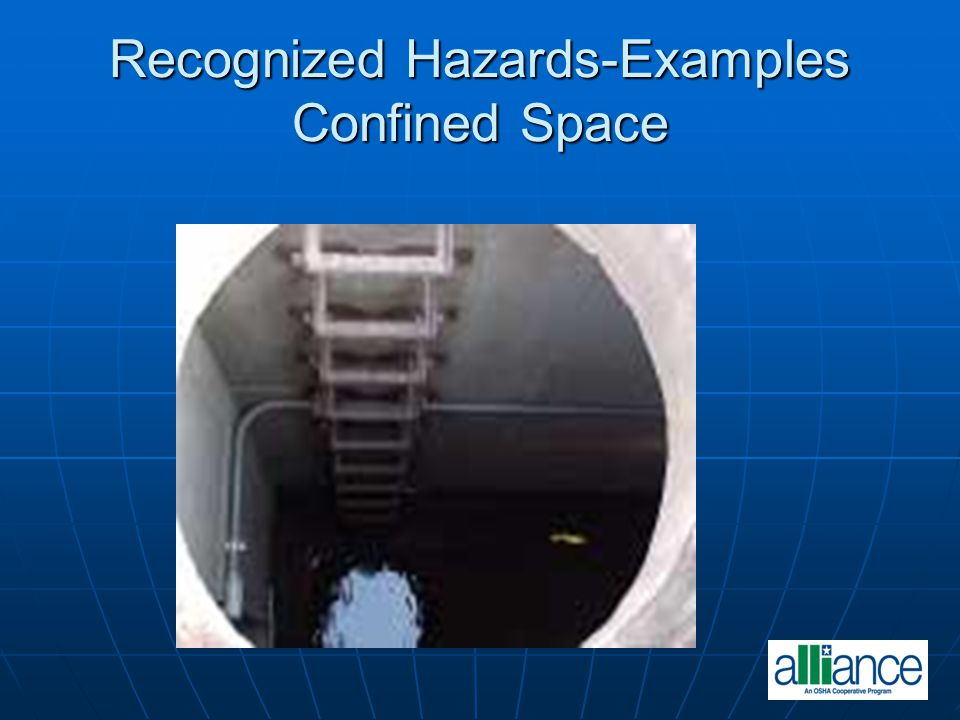 Recognized Hazards-Examples Confined Space