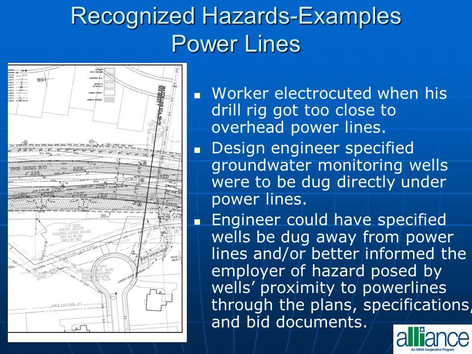 Recognized Hazards-Examples Power Lines