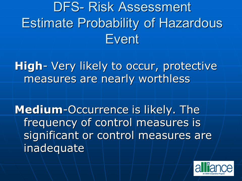 DFS- Risk Assessment Estimate Probability of Hazardous Event