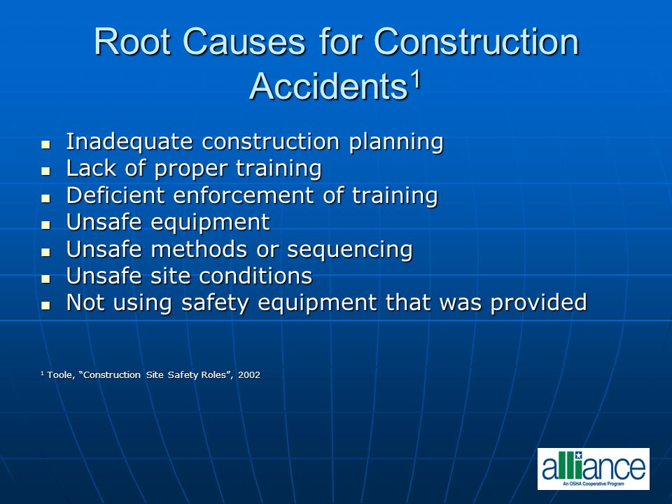 Root Causes for Construction Accidents1