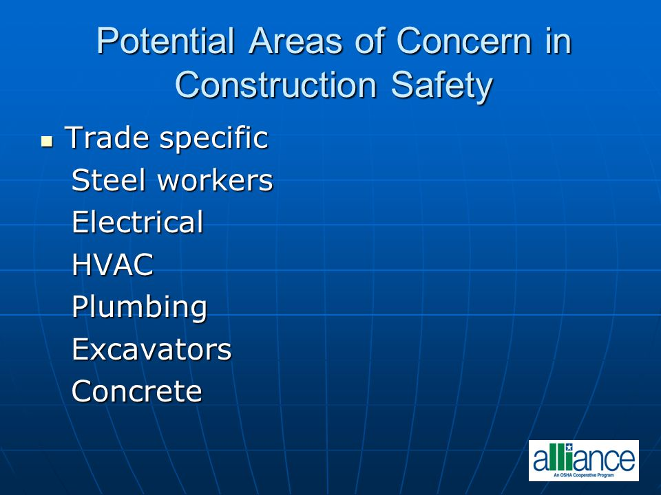 Potential Areas of Concern in Construction Safety