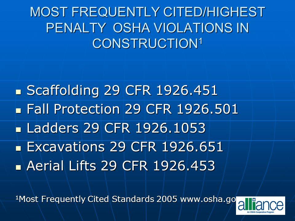 MOST FREQUENTLY CITED/HIGHEST PENALTY OSHA VIOLATIONS IN CONSTRUCTION1
