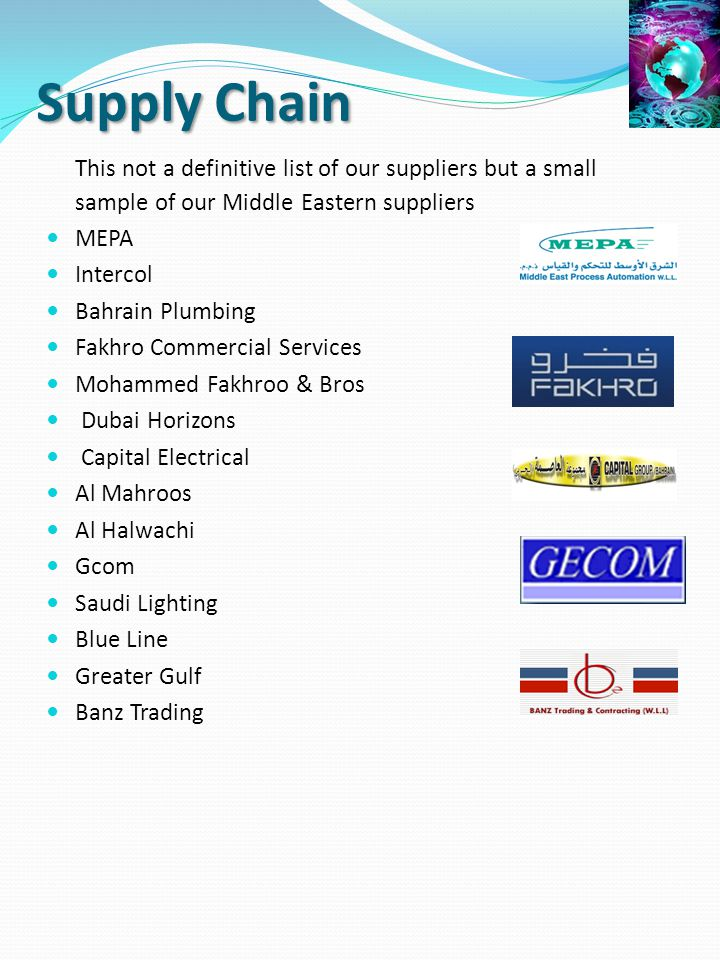 Supply Chain This not a definitive list of our suppliers but a small sample of our Middle Eastern suppliers.
