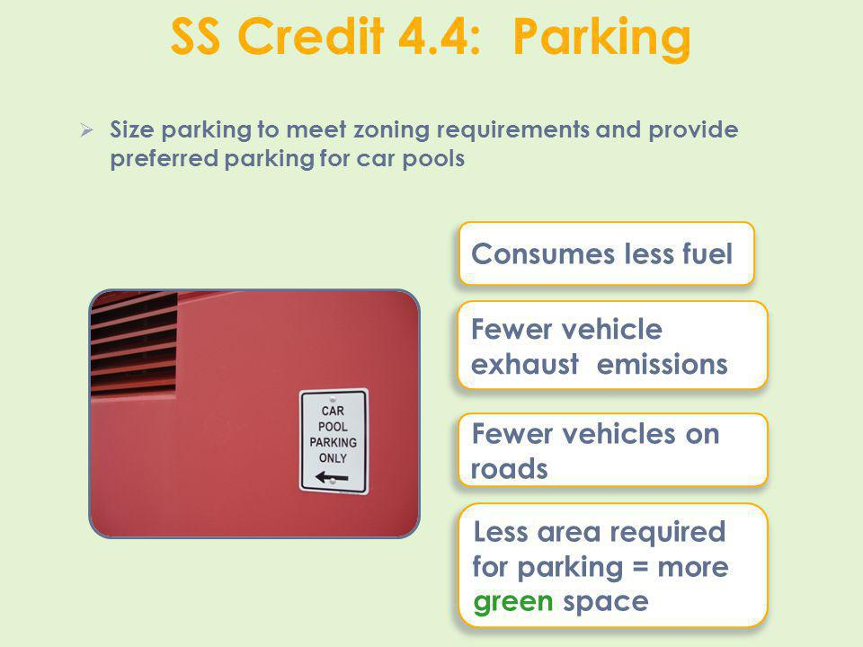 SS Credit 4.4: Parking Consumes less fuel
