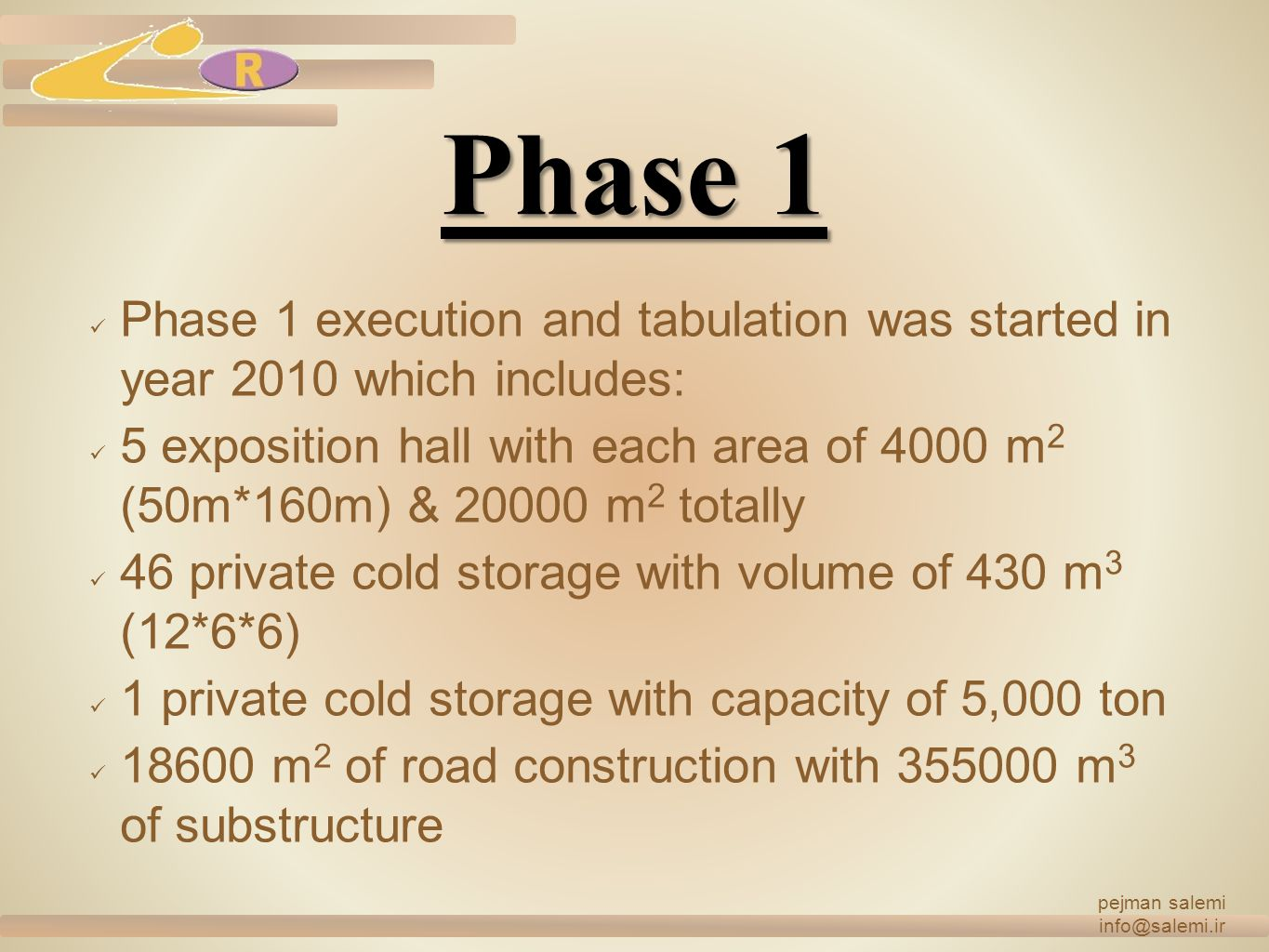 pejman salemi info@salemi.ir. Phase 1. Phase 1 execution and tabulation was started in year 2010 which includes: