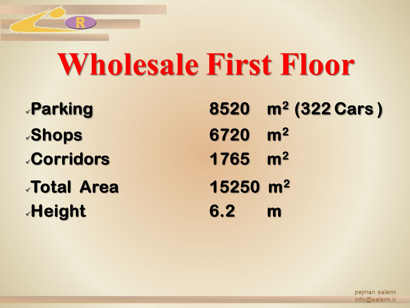 Wholesale First Floor Parking 8520 m2 (322 Cars ) Shops 6720 m2