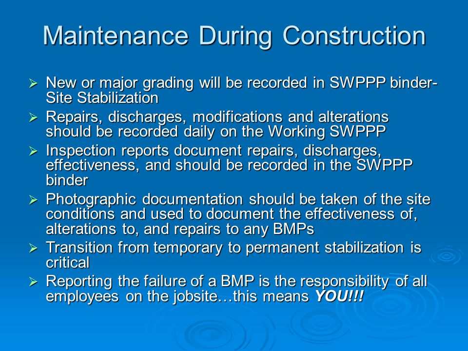 Maintenance During Construction