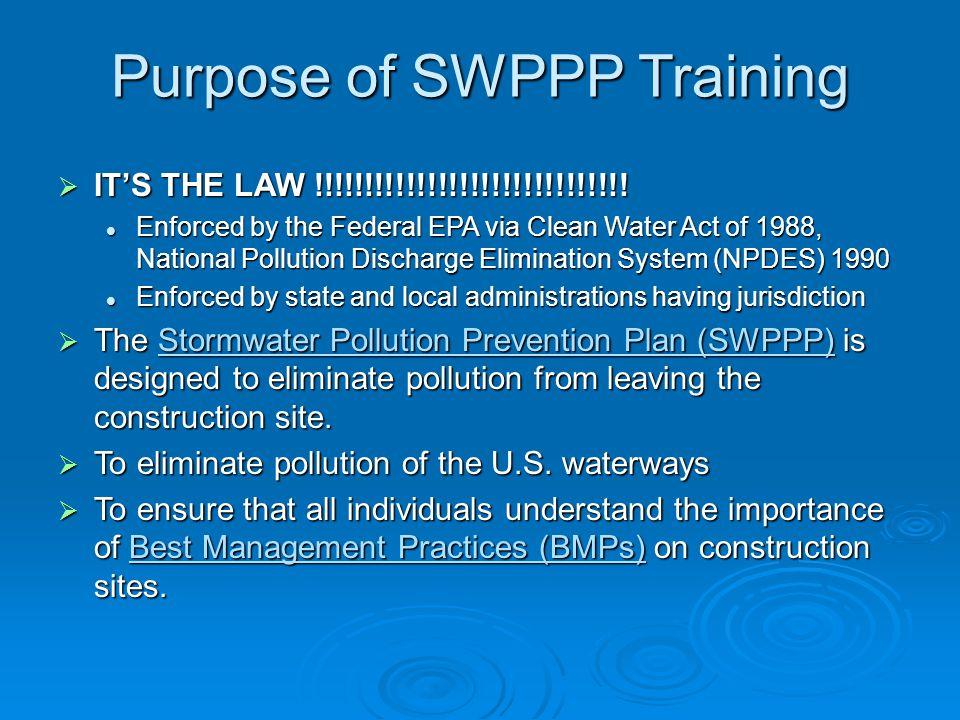 Purpose of SWPPP Training
