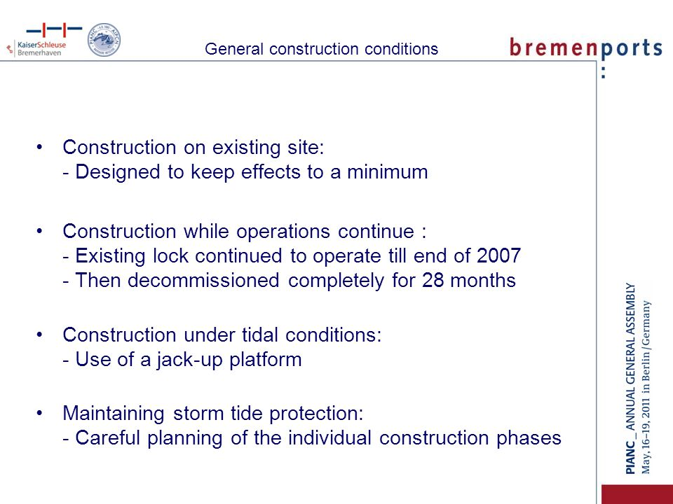 General construction conditions