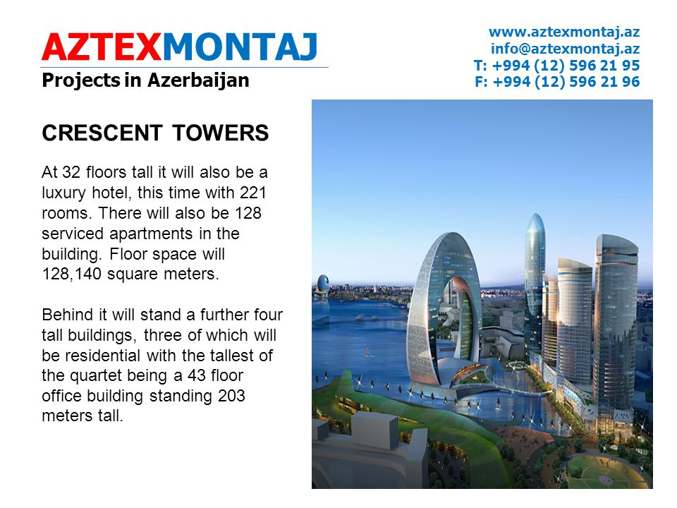 AZTEXMONTAJ CRESCENT TOWERS Projects in Azerbaijan