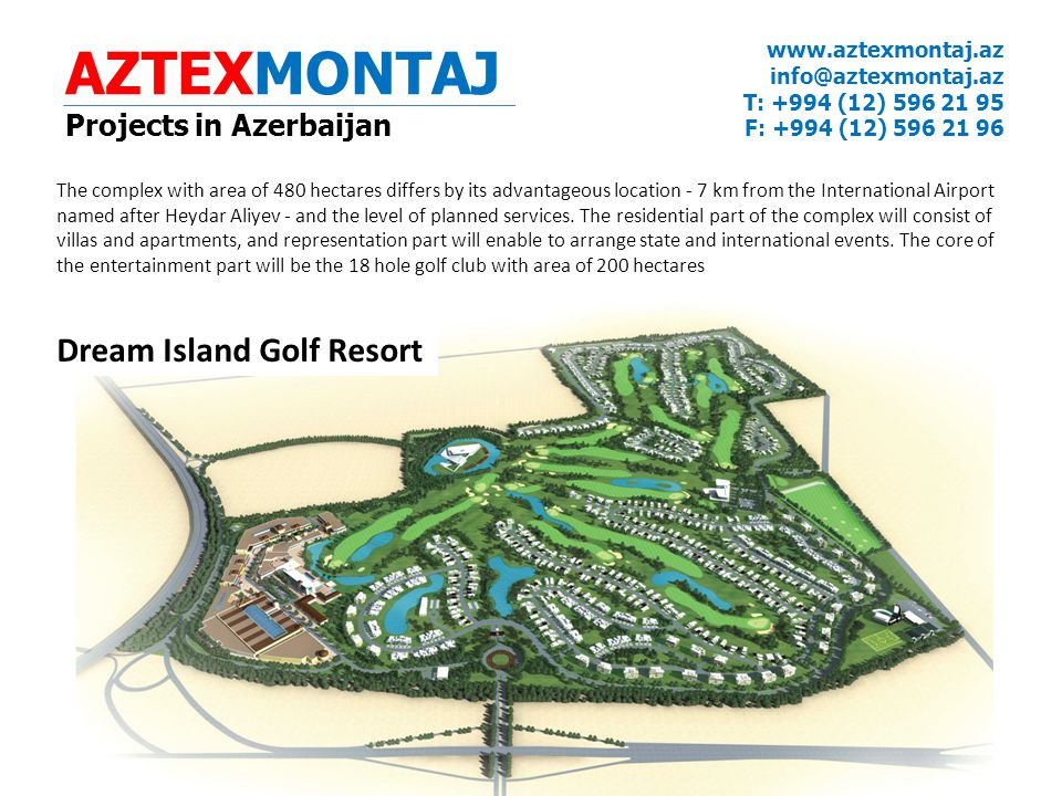 AZTEXMONTAJ Dream Island Golf Resort Projects in Azerbaijan