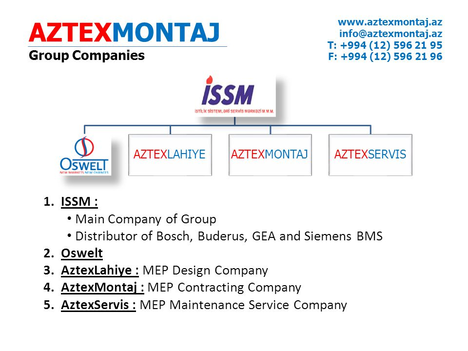 AZTEXMONTAJ ISSM : Main Company of Group