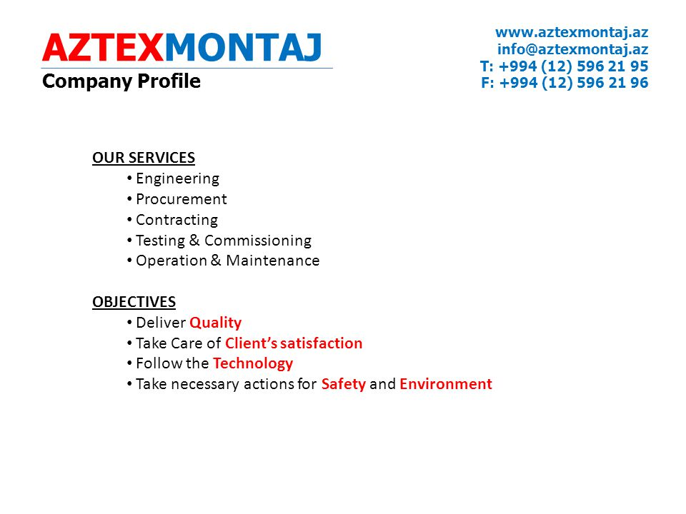 AZTEXMONTAJ Company Profile OUR SERVICES Engineering Procurement
