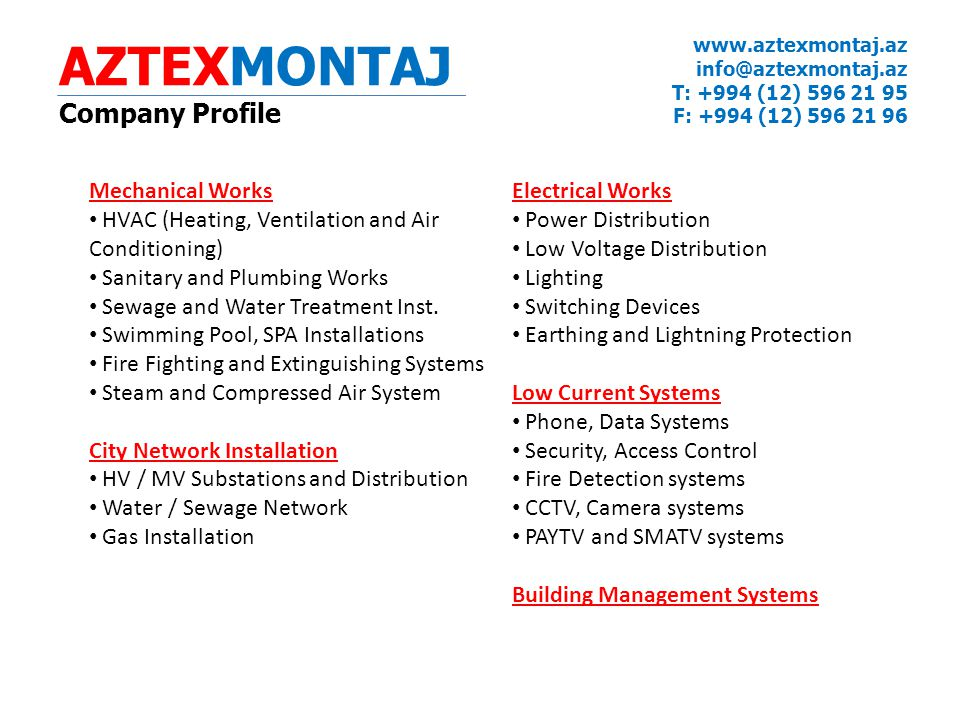 AZTEXMONTAJ Company Profile Mechanical Works