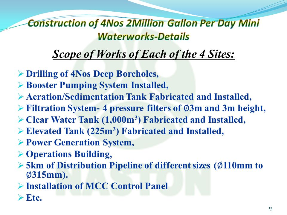 Construction of 4Nos 2Million Gallon Per Day Mini Waterworks-Details