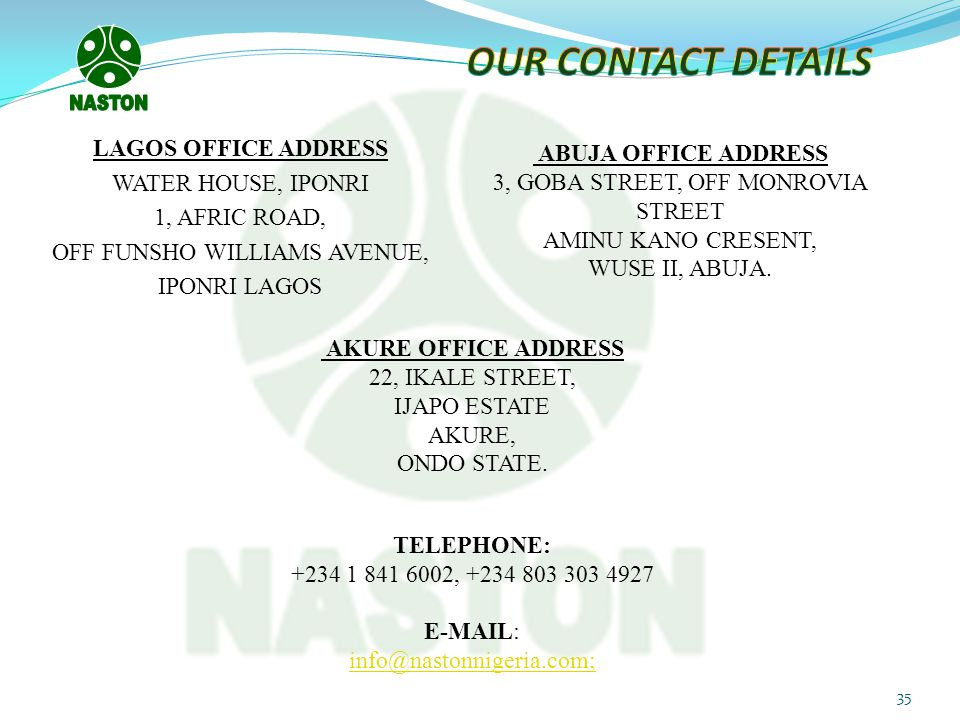 OUR CONTACT DETAILS NASTON