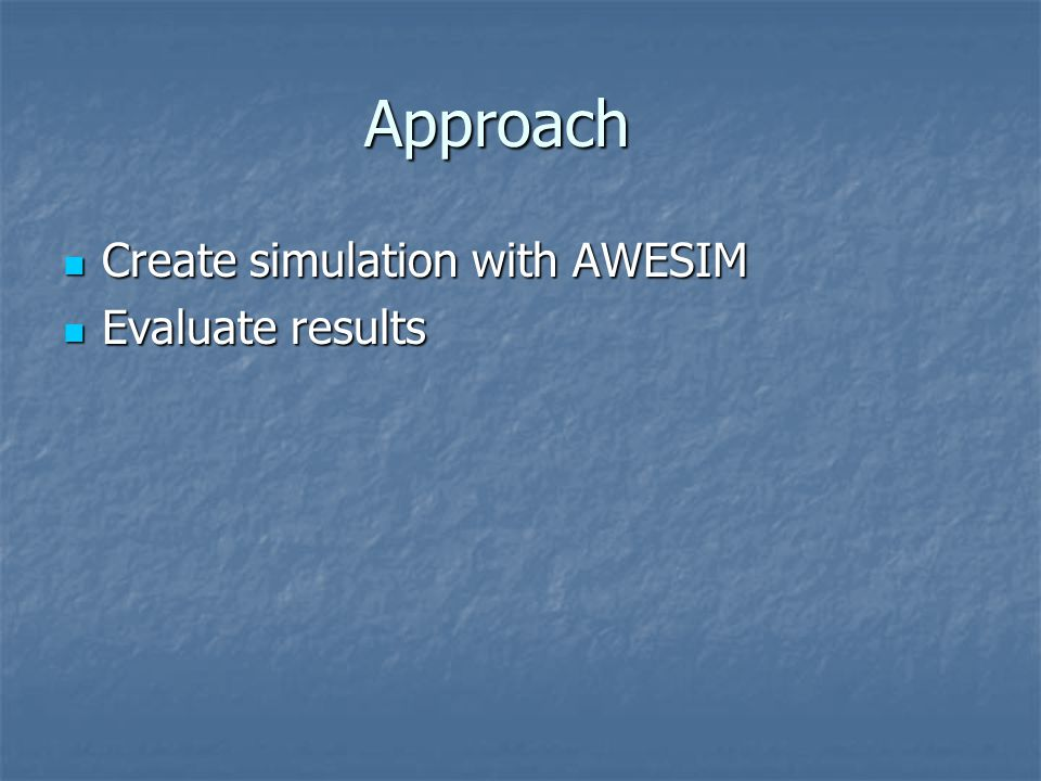 Approach Create simulation with AWESIM Evaluate results