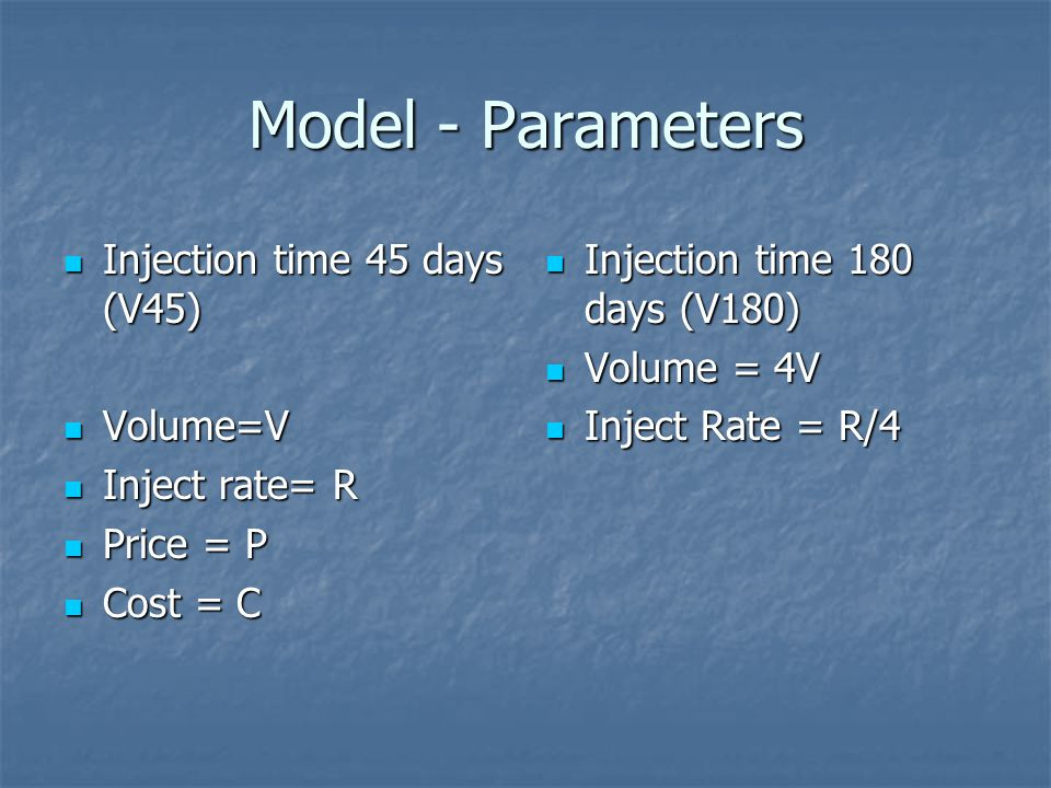 Model - Parameters Injection time 45 days (V45) Volume=V