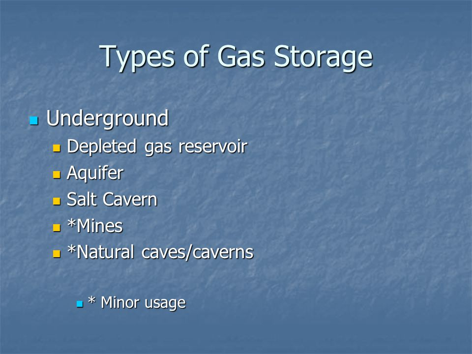 Types of Gas Storage Underground Depleted gas reservoir Aquifer