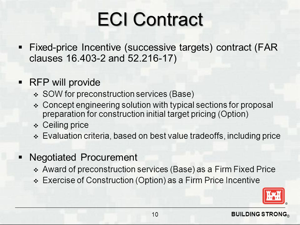 ECI Contract Fixed-price Incentive (successive targets) contract (FAR clauses 16.403-2 and 52.216-17)