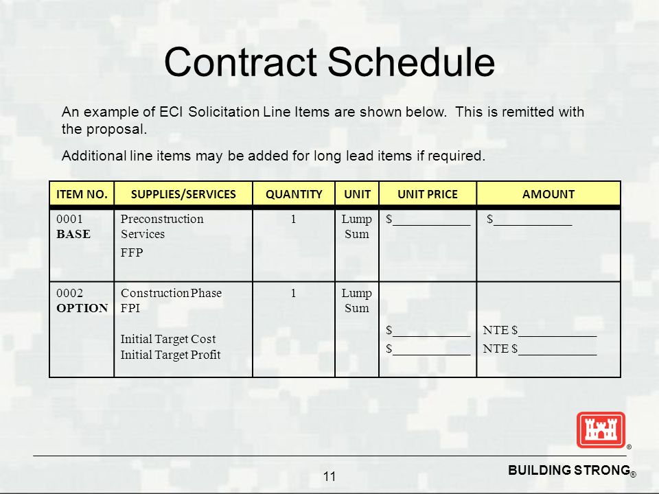 Contract Schedule An example of ECI Solicitation Line Items are shown below. This is remitted with the proposal.