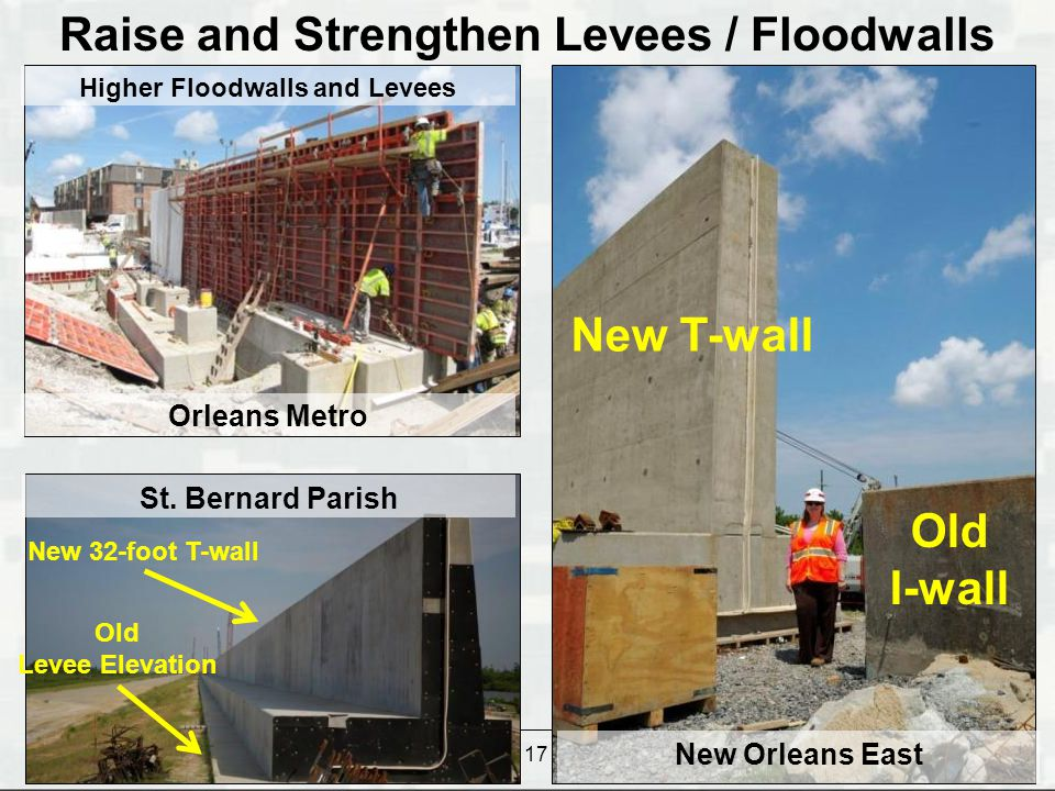 Raise and Strengthen Levees / Floodwalls Higher Floodwalls and Levees
