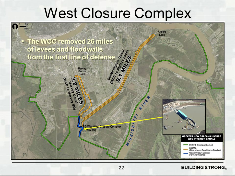 West Closure Complex The WCC removed 26 miles of levees and floodwalls from the first line of defense.