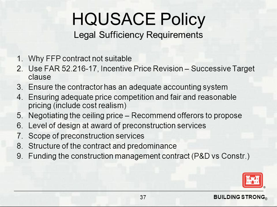 HQUSACE Policy Legal Sufficiency Requirements