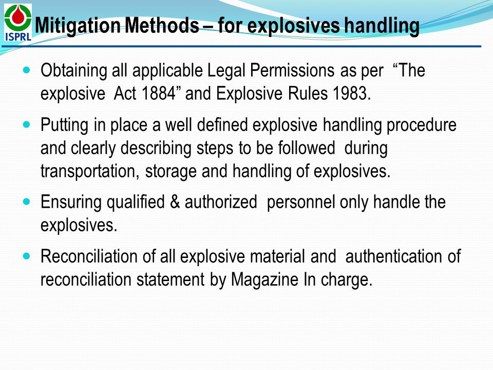 Mitigation Methods – for explosives handling