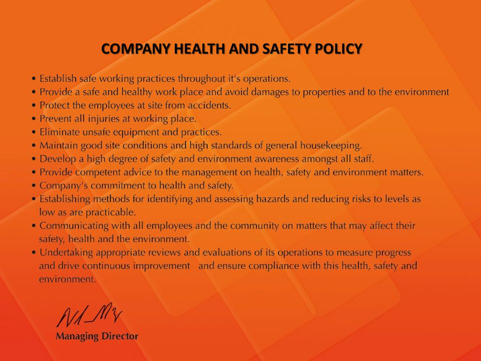 COMPANY HEALTH AND SAFETY POLICY