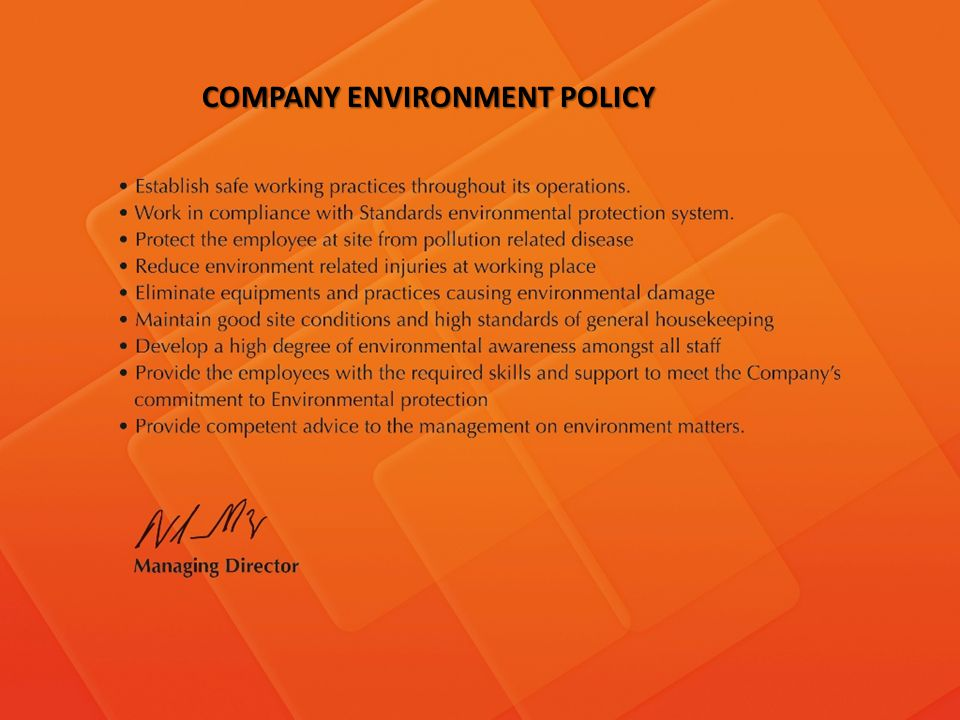 COMPANY ENVIRONMENT POLICY
