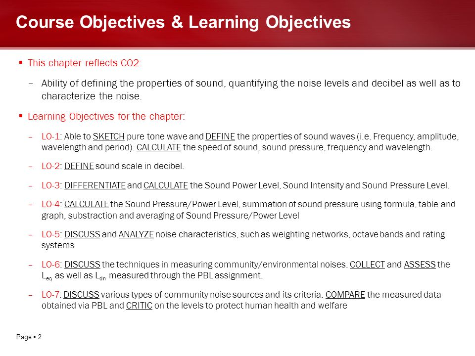 Course Objectives & Learning Objectives