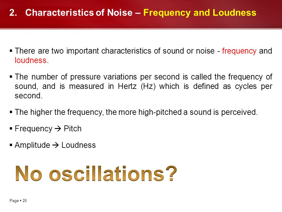 Characteristics of Noise – Frequency and Loudness