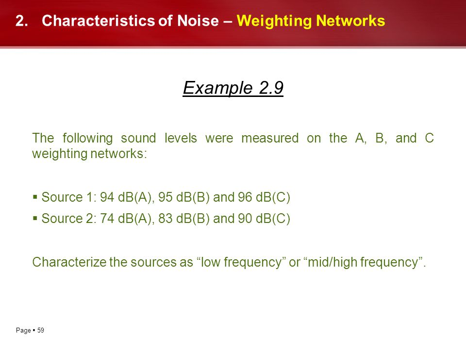 Characteristics of Noise – Weighting Networks
