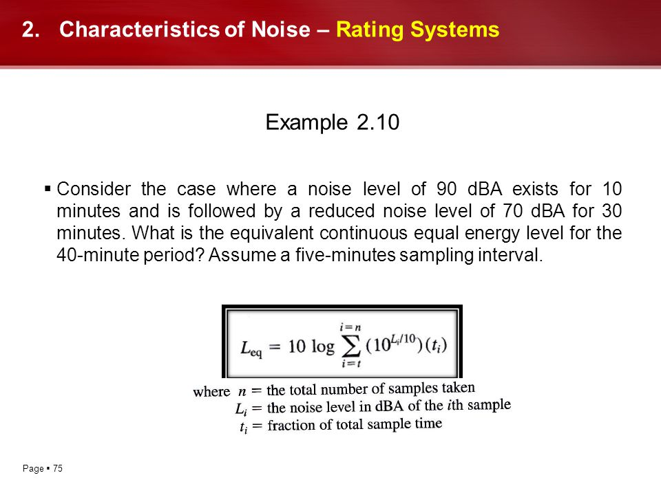 Characteristics of Noise – Rating Systems