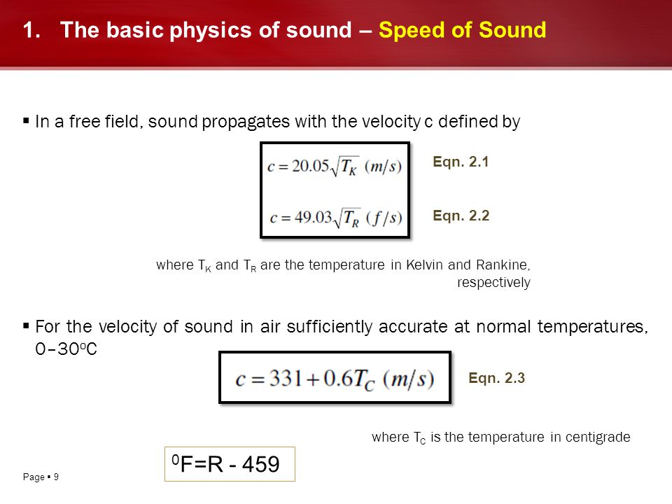 The basic physics of sound – Speed of Sound
