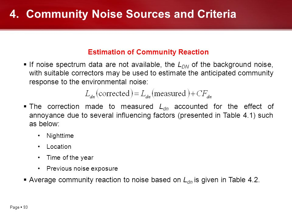 Community Noise Sources and Criteria