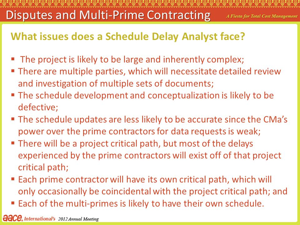 Disputes and Multi-Prime Contracting